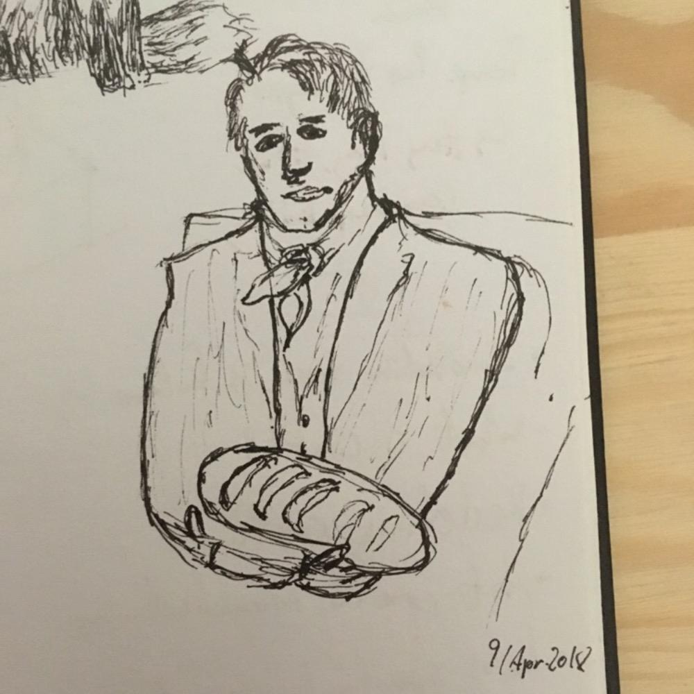 Alexander Von Humzbolt with his bread: by Anonymous (Apr 9, 2018)